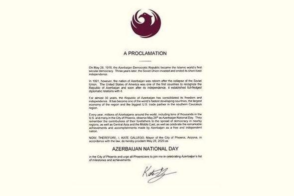 """ABŞ ştatında 28 May """"Azərbaycan Milli Günü"""" elan edilib"""
