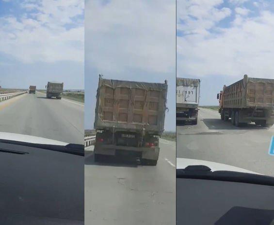 Bakı-Quba yolunda yük maşınlarının sürücülərinin özbaşınalığına niyə göz yumulur? - VİDEO
