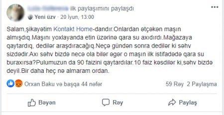 """""""Kontakt Home"""" müştərini çarəsiz qoydu - """"Karantin dövründə bir-birimizə dəstəyimiz budur?"""""""